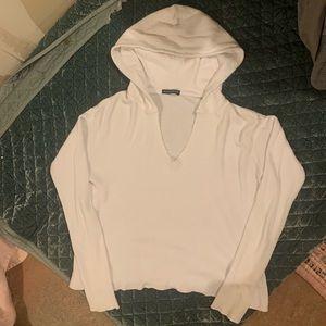 Brandy Melville white thermal hoodie shirt